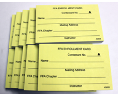 FFA ENROLLMENT & PLACING CARDS JUDGING SETS 10/PKG